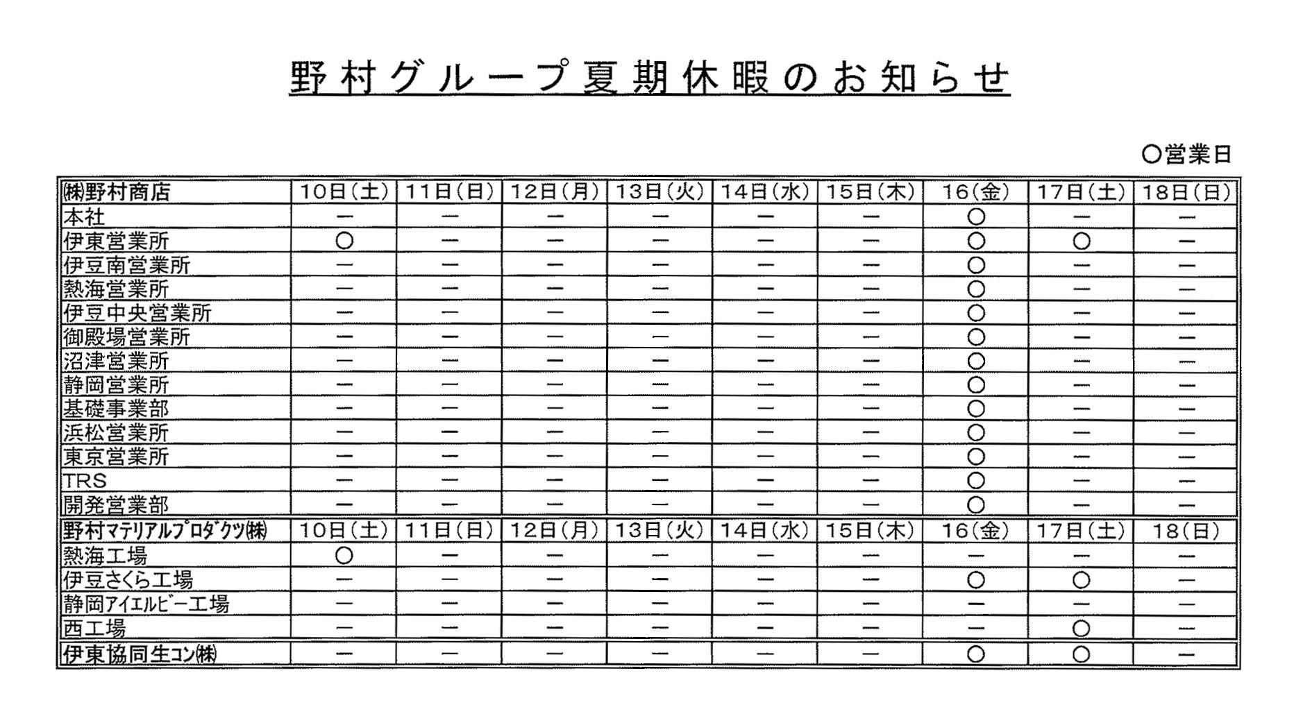 2019年「野村グループ」夏季休業をお知らせ致します。