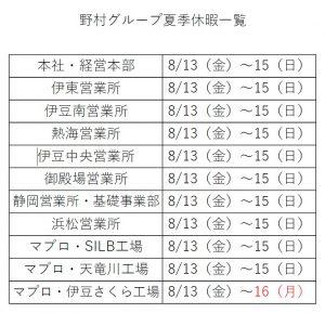 2021野村グループ夏季休暇